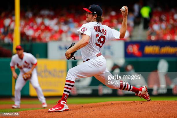 Miles Mikolas of the St Louis Cardinals pitches against the Cincinnati Reds in the first inning at Busch Stadium on July 15 2018 in St Louis Missouri