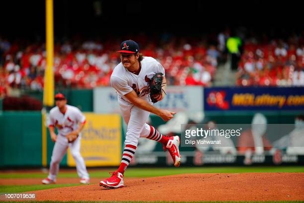 Miles Mikolas of the St Louis Cardinals pitches against the St Louis Cardinals at Busch Stadium on July 15 2018 in St Louis Missouri