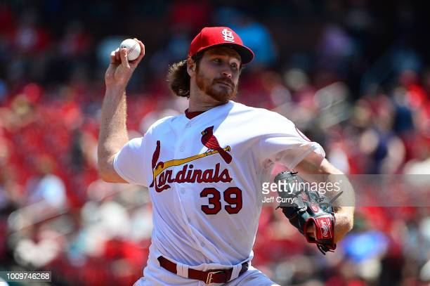 Miles Mikolas of the St Louis Cardinals pitches during the fourth inning against the Colorado Rockies at Busch Stadium on August 2 2018 in St Louis...