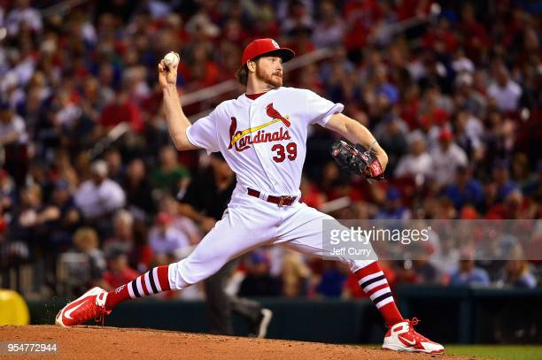 Miles Mikolas of the St Louis Cardinals pitches during the fourth inning against the Chicago Cubs at Busch Stadium on May 4 2018 in St Louis Missouri