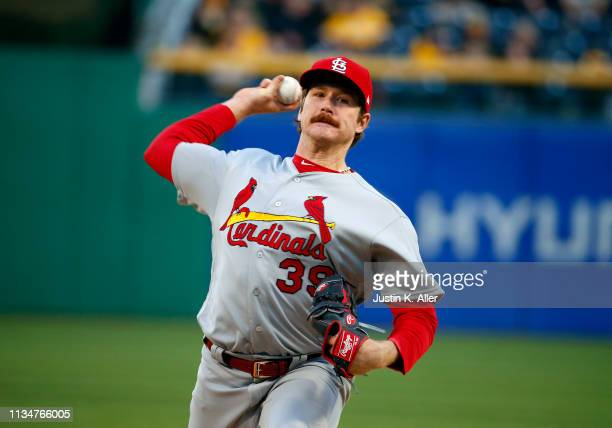 Miles Mikolas of the St Louis Cardinals pitches in the first inning against the Pittsburgh Pirates at PNC Park on April 3 2019 in Pittsburgh...