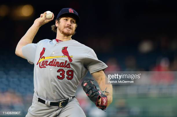Miles Mikolas of the St Louis Cardinals pitches in the first inning against the Washington Nationals at Nationals Park on May 1 2019 in Washington DC