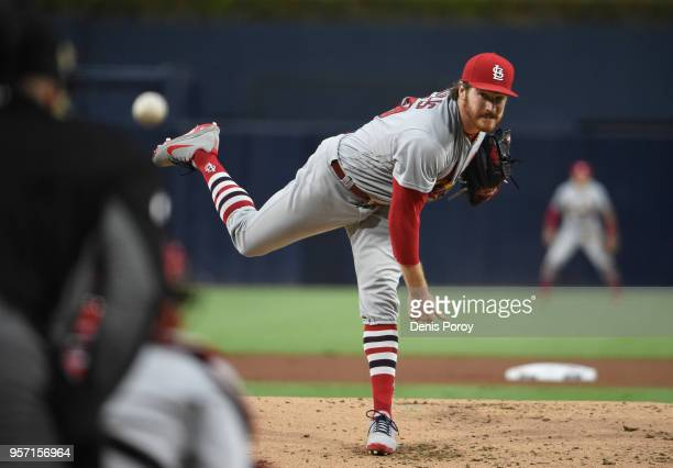Miles Mikolas of the St Louis Cardinals pitches in the first inning of a baseball game against the St Louis Cardinals at PETCO Park on May 10 2018 in...