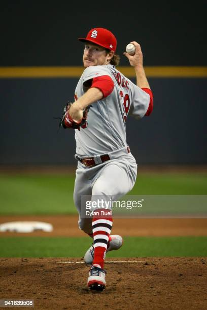 Miles Mikolas of the St Louis Cardinals pitches in the fourth inning against the Milwaukee Brewers at Miller Park on April 2 2018 in Milwaukee...