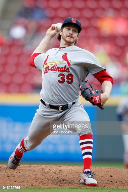 Miles Mikolas of the St Louis Cardinals pitches in the second inning of the game against the Cincinnati Reds at Great American Ball Park on April 14...
