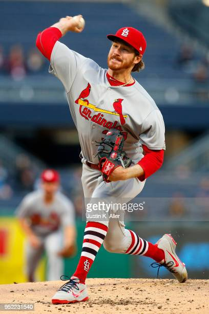 Miles Mikolas of the St Louis Cardinals pitches in the second inning against the Pittsburgh Pirates at PNC Park on April 27 2018 in Pittsburgh...