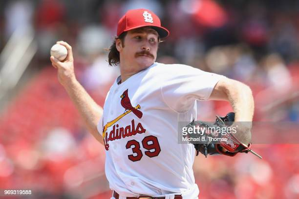 Miles Mikolas of the St Louis Cardinals pitches in the sixth inning against the Miami Marlins at Busch Stadium on June 7 2018 in St Louis Missouri