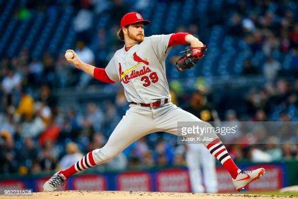 Miles Mikolas of the St Louis Cardinals pitches in the third inning against the Pittsburgh Pirates at PNC Park on April 27 2018 in Pittsburgh...