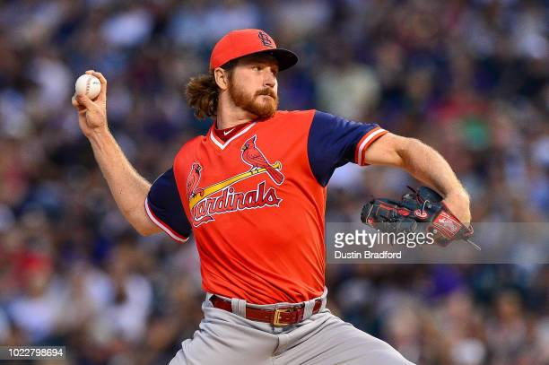 Miles Mikolas of the St Louis Cardinals pitchesagainst the Colorado Rockies during Players Weekend at Coors Field on August 24 2018 in Denver...