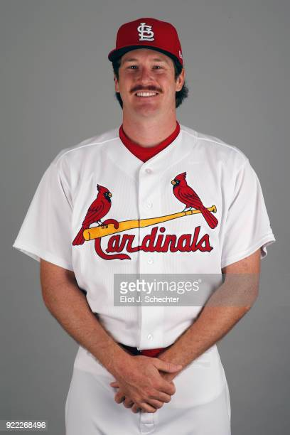 Miles Mikolas of the St Louis Cardinals poses during Photo Day on Tuesday February 20 2018 at Roger Dean Stadium in Jupiter Florida