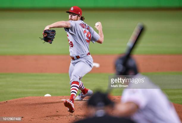 Miles Mikolas of the St Louis Cardinals throws a pitch in the first inning against the Miami Marlins at Marlins Park on August 7 2018 in Miami Florida