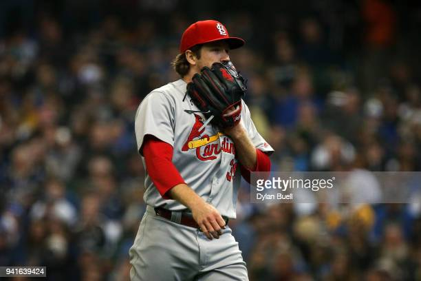 Miles Mikolas of the St Louis Cardinals walks off the mound after the third inning against the Milwaukee Brewers at Miller Park on April 2 2018 in...