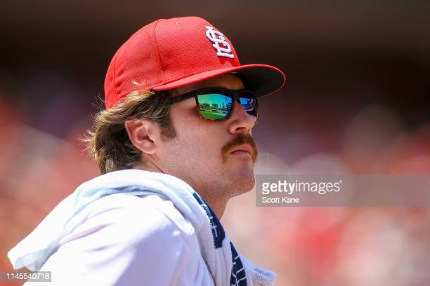 Miles Mikolas of the St. Louis Cardinals watches from the dugout in the sixth inning during Game One of a double header against the Kansas City...