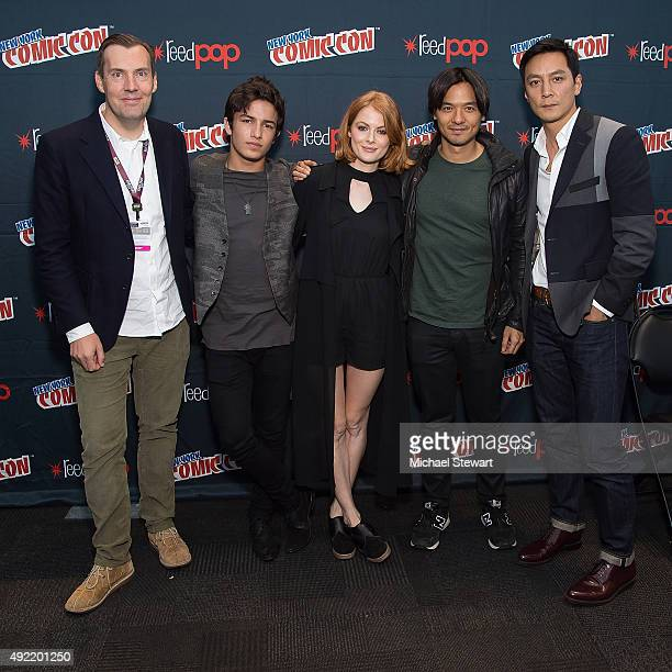 Miles Miller Aramis Knight Emily Beecham Stephen Fung and Daniel Wu pose in the press room for Into the Badlands during New York ComicCon Day 3 at...