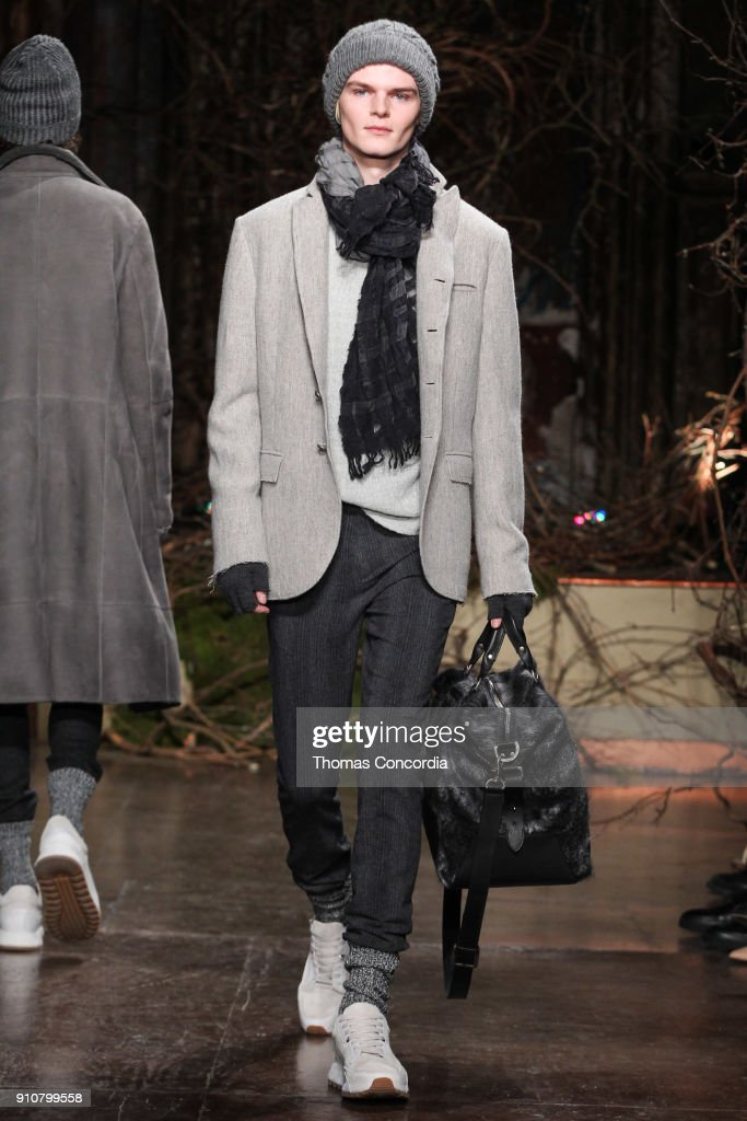 Miles Montierth walks the runway wearing John Varvatos Fall/Winter 2018 with makeup by Chika Chan for Make-Up Pro and Hair by Yannik D'Is for Cultler/Redken at the Angel Orensanz Foundation on January 26, 2018 in New York City.