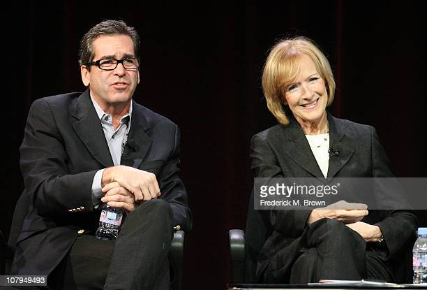 Miles O'Brien and Judy Woodruff speak during the 'PBS Newshour' panel at the PBS portion of the 2011 Winter TCA press tour held at the Langham Hotel...
