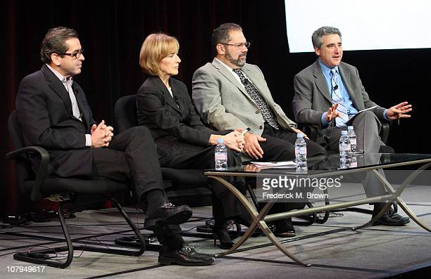 Miles O'Brien Judy Woodruff Ray Suarez and Simon Marks speak during the 'PBS Newshour' panel at the PBS portion of the 2011 Winter TCA press tour...