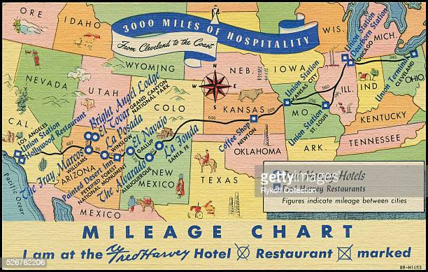 3000 Miles of Hospitality Mileage Chart I am at the Fred Harvey Hotel Restaurant marked From the shores of the Great Lakes to the orange groves of...