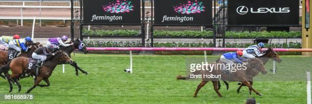 Miles of Krishan ridden by Fred Kersley wins the The Murray Region Handicap at Flemington Racecourse on June 23 2018 in Flemington Australia