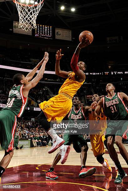 J Miles of the Cleveland Cavaliers goes up for the shot against Giannis Antetokounmpo of the Milwaukee Bucks at The Quicken Loans Arena on January 24...
