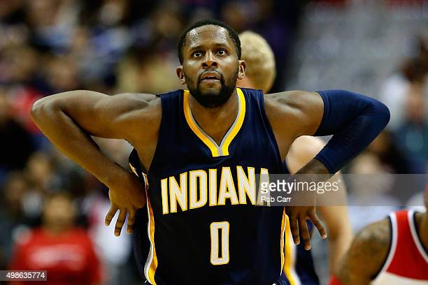 J Miles of the Indiana Pacers celebrates after hitting a three pointer against the Washington Wizards in the first half at Verizon Center on November...