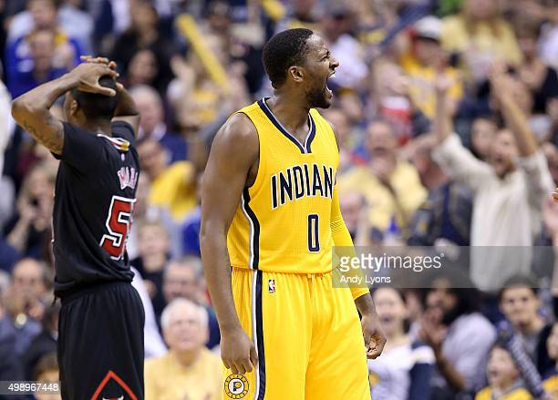 J Miles of the Indiana Pacers celebrates after making a basket as he was fouled during the game against the Chicago Bulls at Bankers Life Fieldhouse...
