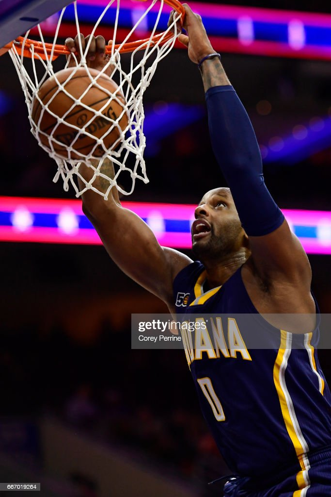 CJ Miles #0 of the Indiana Pacers dunks against the Philadelphia 76ers during the fourth quarter at the Wells Fargo Center on April 10, 2017 in Philadelphia, Pennsylvania. The Pacers won 120-111.