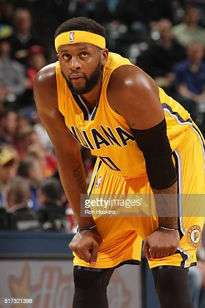 J Miles of the Indiana Pacers during the game against the New Orleans Pelicans on March 24 2016 at Bankers Life Fieldhouse in Indianapolis Indiana...