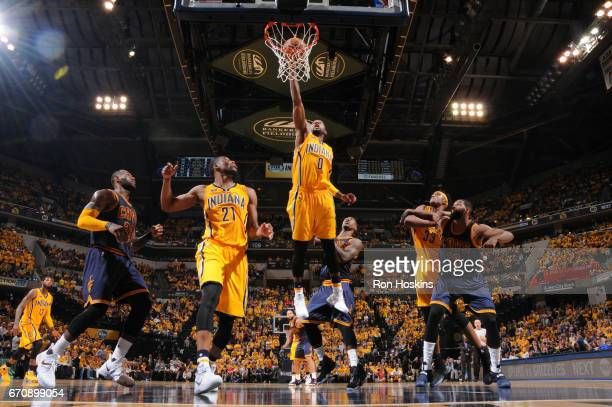 J Miles of the Indiana Pacers goes up for a dunk against the Cleveland Cavaliers during Game Three of the Eastern Conference Quarterfinals of the...