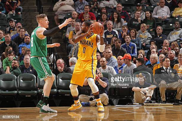 J Miles of the Indiana Pacers handles the ball against the Boston Celtics on November 12 2016 at Bankers Life Fieldhouse in Indianapolis Indiana NOTE...