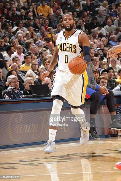 J Miles of the Indiana Pacers handles the ball against the Detroit Pistons on January 2 2016 at Bankers Life Fieldhouse in Indianapolis Indiana NOTE...