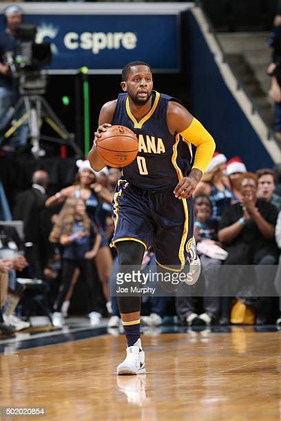 J Miles of the Indiana Pacers handles the ball during the game against the Memphis Grizzlies on December 19 2015 at FedExForum in Memphis Tennessee...
