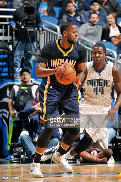 J Miles of the Indiana Pacers handles the ball during the game against the Orlando Magic on January 6 2016 at Amway Center in Orlando Florida NOTE TO...