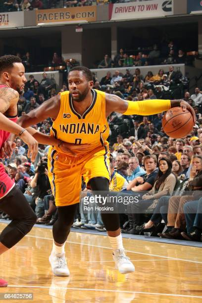 J Miles of the Indiana Pacers handles the ball during the game against the Toronto Raptors on April 4 2017 at Bankers Life Fieldhouse in Indianapolis...