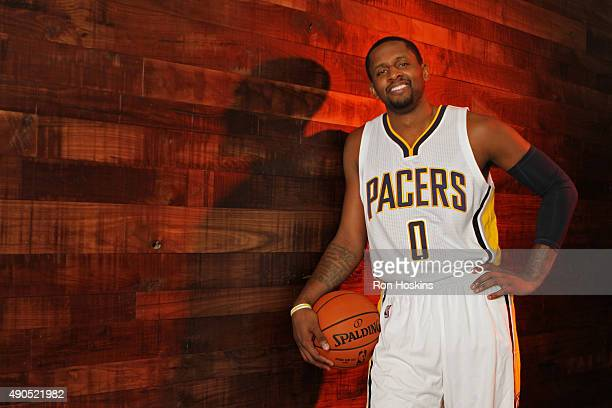 J Miles of the Indiana Pacers poses for a portrait during the Indiana Pacers media day at Bankers Life Fieldhouse on September 28 2015 in...
