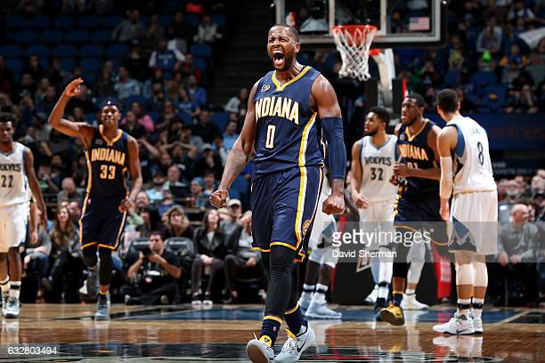 J Miles of the Indiana Pacers reacts during the game against the Minnesota Timberwolves on January 26 2017 at Target Center in Minneapolis Minnesota...
