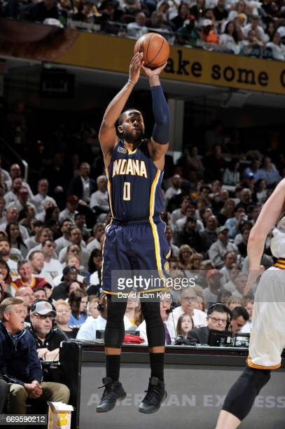 J Miles of the Indiana Pacers shoots the ball against the Cleveland Cavaliers during Game Two of the Eastern Conference Quarterfinals of the 2017 NBA...