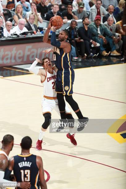 Miles of the Indiana Pacers shoots the ball against the Cleveland Cavaliers during Game Two the Eastern Conference Quarterfinals of the 2017 NBA...