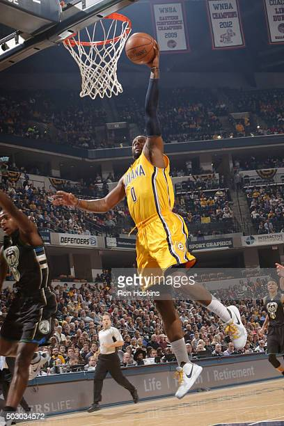 J Miles of the Indiana Pacers shoots the ball against the Milwaukee Bucks on December 31 2015 at Bankers Life Fieldhouse in Indianapolis Indiana NOTE...