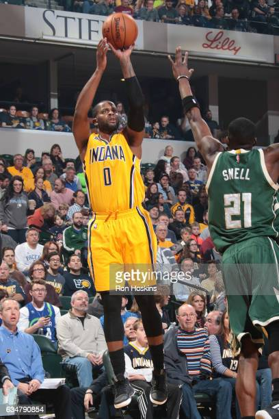 J Miles of the Indiana Pacers shoots the ball against the Milwaukee Bucks on February 11 2017 at Bankers Life Fieldhouse in Indianapolis Indiana NOTE...