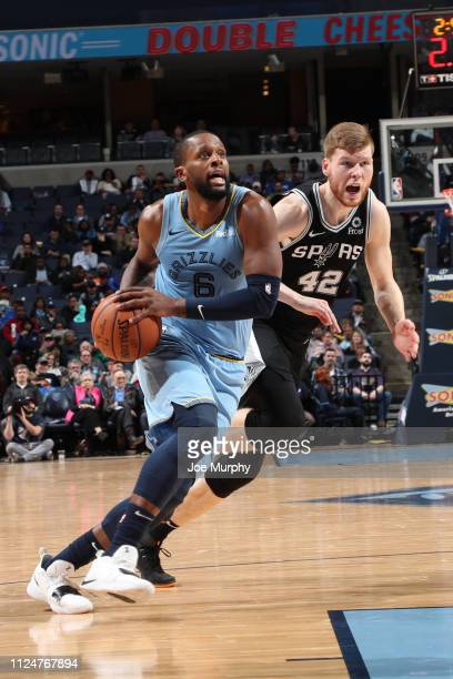 Miles of the Memphis Grizzlies drives to the basket against the San Antonio Spurs on February 12 2019 at FedExForum in Memphis Tennessee NOTE TO USER...
