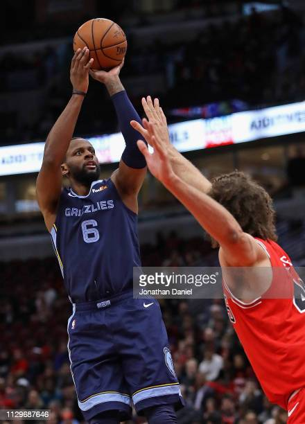 Miles of the Memphis Grizzlies shoots over Robin Lopez of the Chicago Bullsat the United Center on February 13 2019 in Chicago Illinois NOTE TO USER...
