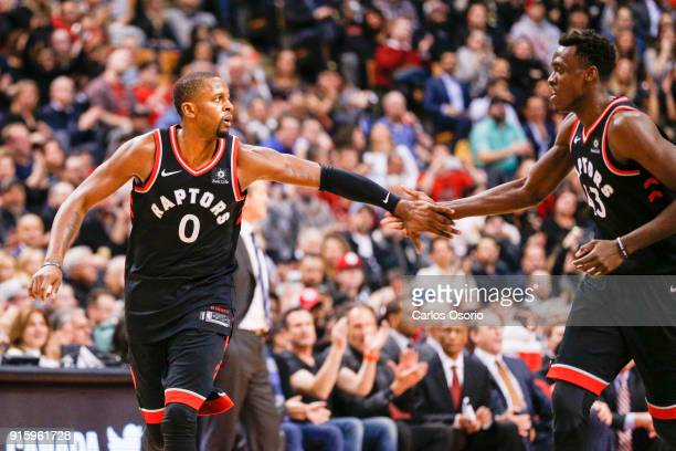 J Miles of the Raptors celebrates after a basket with Pascal Siakam during the 2nd half of NBA action as the Toronto Raptors host the New York Knicks...