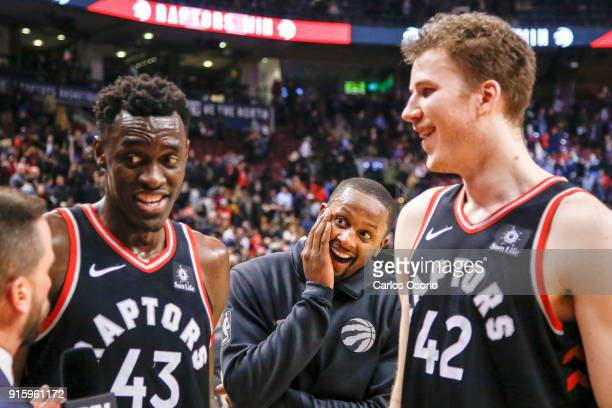 J Miles of the Raptors photobombs his teammates Pascal Siakam and Jakob Poeltl during a tv interview after the 2nd half of NBA action as the Toronto...