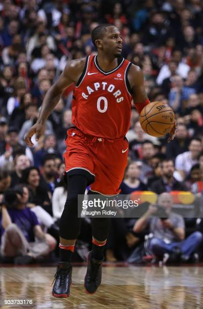 J Miles of the Toronto Raptors dribbles the ball during the second half of an NBA game against the Oklahoma City Thunder at Air Canada Centre on...