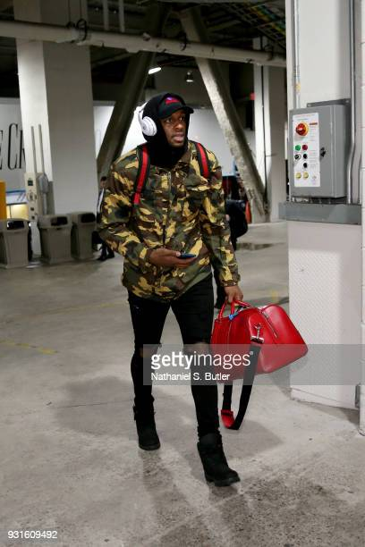 Miles of the Toronto Raptors enters the arena before the game against the Brooklyn Nets on March 13 2018 at Barclays Center in Brooklyn New York NOTE...