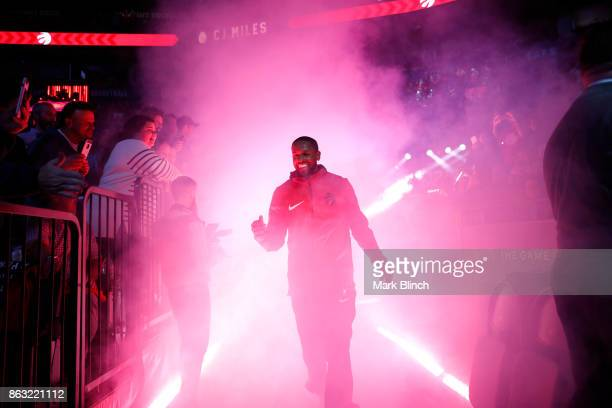Miles of the Toronto Raptors gets introduced before the game against the Chicago Bulls on October 19 2017 at the Air Canada Centre in Toronto Ontario...