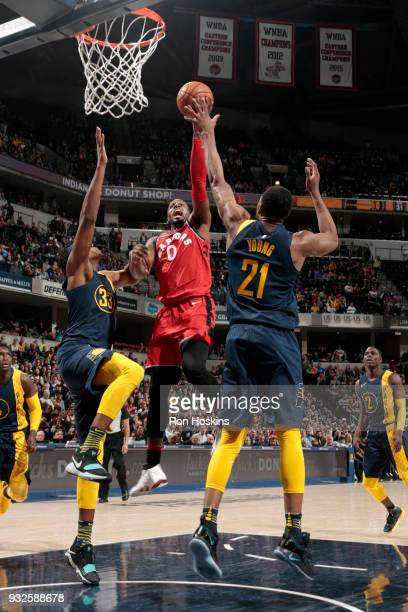 Miles of the Toronto Raptors goes to the basket against the Indiana Pacers on March 15 2018 at Bankers Life Fieldhouse in Indianapolis Indiana NOTE...