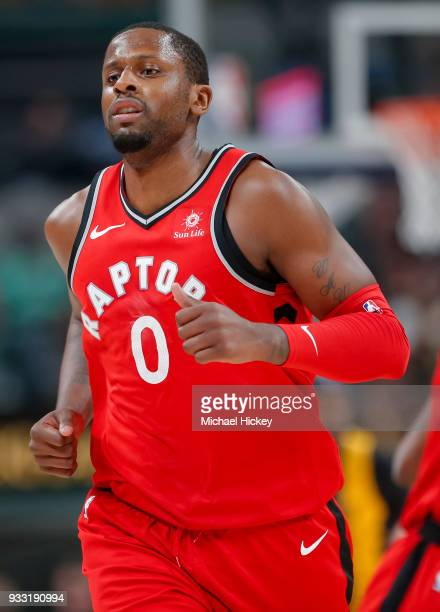 Miles of the Toronto Raptors jogs up court during the game against the Indiana Pacers at Bankers Life Fieldhouse on March 15 2018 in Indianapolis...
