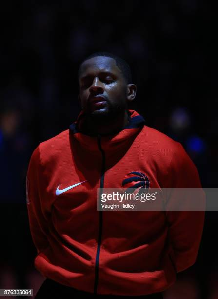 J Miles of the Toronto Raptors looks on during the anthems prior to the first half of an NBA game against the New York Knicks at Air Canada Centre on...